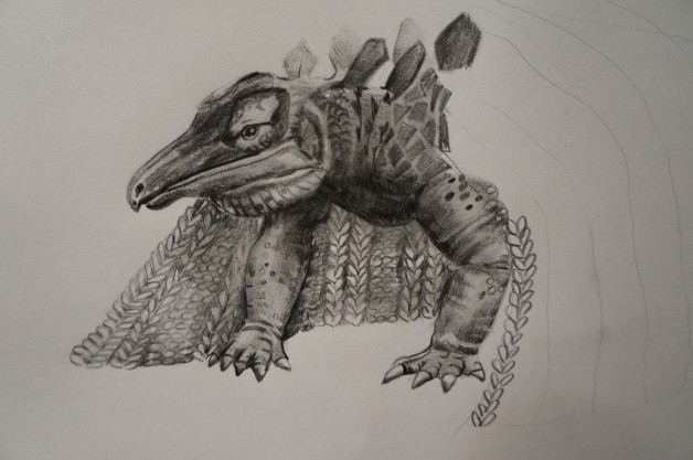 Pencil drawing of dinosaur in blanket.