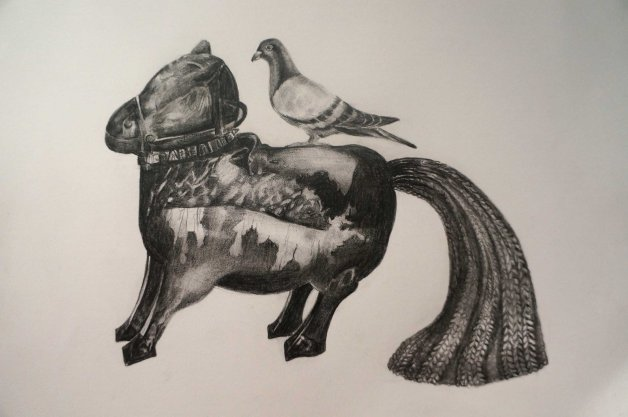 Drawing using pitt pencil.