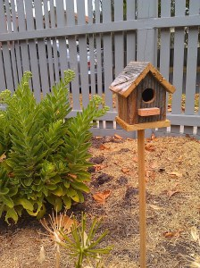 Wooden birdhouse.