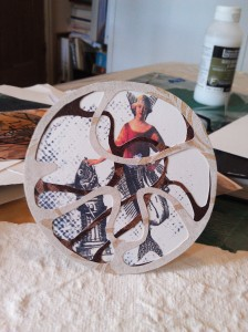 cutout 2 woman and fish pedestal