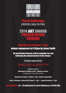Invitation to the M Collection Art award Evening