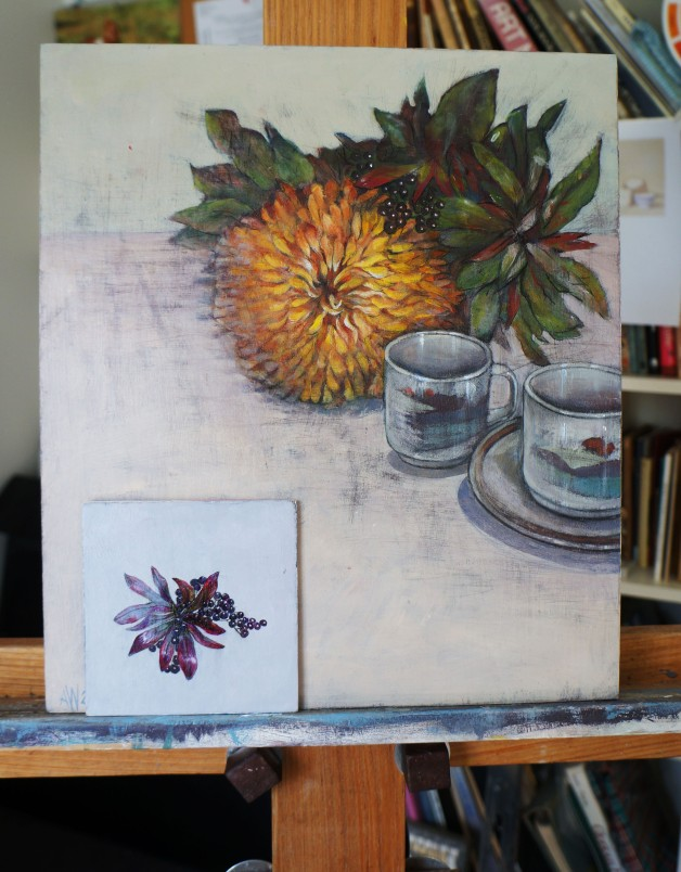 chrysanthemum with coffee cups and detail