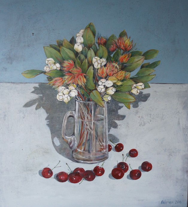 Flowers and cherries