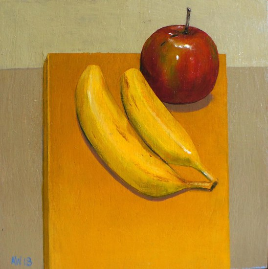 square apple and banannas